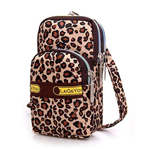 telefono Le Poouch adorabili sport donne borsa portafoglio all'aperto portatile frizione Satchel Leopard polso da del borsa Mini TTxzO