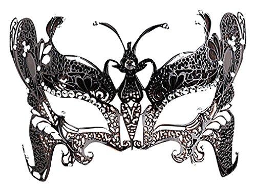 Maze Women's Various Complex Black Metal Filigree Zircon Edge Half Face Masks, M120 One (Plain Masquerade Masks In Bulk)