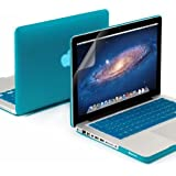 GMYLE 3 in 1 Bundle Soft-Touch Frosted Hard Case for Macbook Pro 13 inch with CD-ROM (Model: A1278) with Keyboard Cover and Screen Protector - Aqua Blue