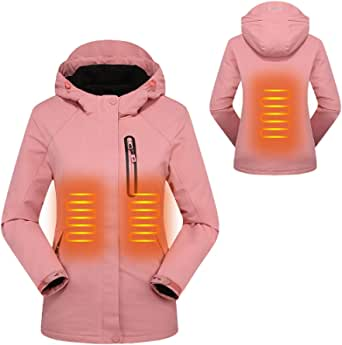 Mekta Cálida chaqueta para el tiempo libre, ajustada, chaqueta climatizada para invierno, cálida, impermeable, con capucha