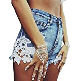 Weigou Women Summer Denim Shorts High Waist Lace Stitching Hot Denim Shorts Jeans Street Style Junior Shorts (Blue, M)
