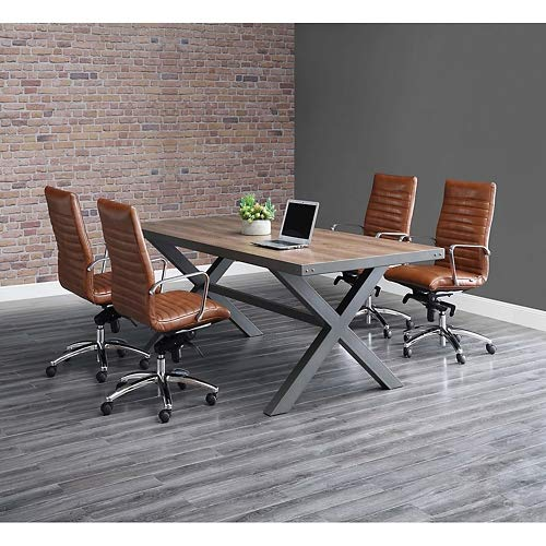 Rivet Conference Table 96''W x 42''D Weathered Oak/Charcoal Painted Steel by NBF Signature Series