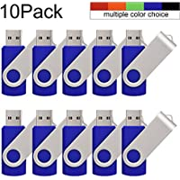 JUANW 10Pieces 4GB USB2.0 Flash Drive Memory Stick Swivel Thumb Drive Blue