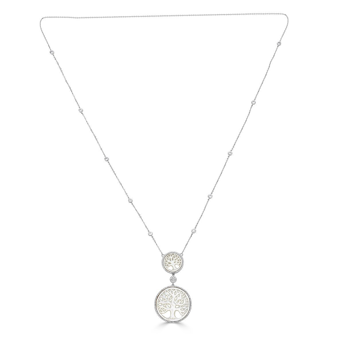 Platinum Plated Sterling Silver Mother Of Pearl Tree Of Live Necklace by Caratina