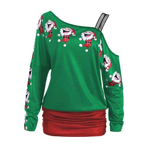 BeautyTop Donna Manica Lunga Camicetta Natale Maglietta T-shirt Felpa Maglia Blusa Pullover Maglie a manica lunga Invernale Verde