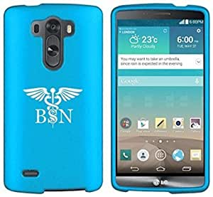 LG G4 Snap On 2 Piece Rubber Hard Case Cover BSN Bachelors Of Science Nurse Caduceus (Light Blue)