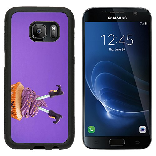 Luxlady Premium Samsung Galaxy S7 Aluminum Backplate Bumper Snap Case IMAGE ID: 22167569 Halloween cupcake with witch