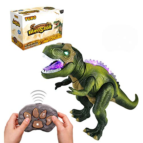 Tuko Jurassic World Dinosaur Toys LED Light Up Walking and Roaring Realistic t rex Dinosaur Toys for 3-12 Years Old Boys and Girls (RC Dino)