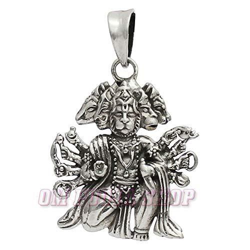 Om Pooja Shop Panchamukhi Hanuman Pendant in Sterling Silver
