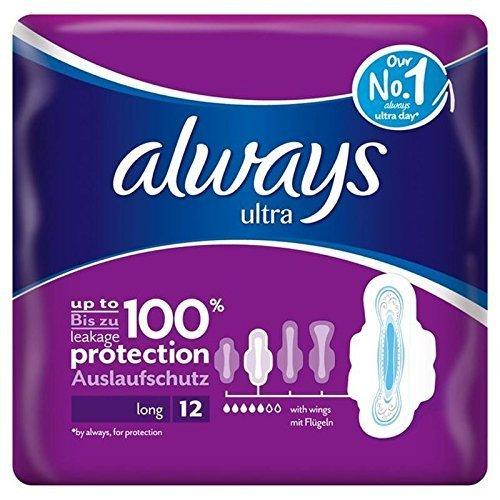 Always Ultra Long Plus Sanitary Towels with Wings 12 per pack