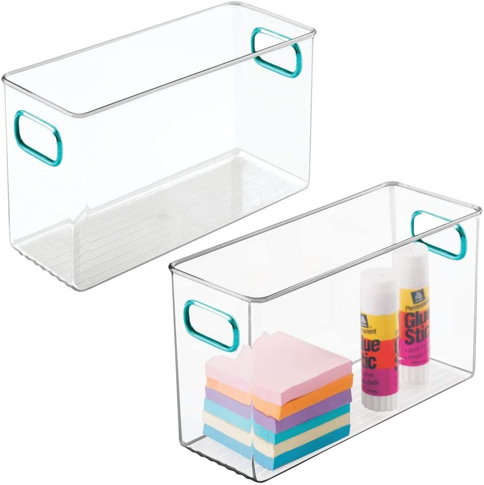 """mDesign Plastic Home, Office Storage Organizer Container Bin Box with Handles for Cabinets, Drawers, Desks, Workspace - for Pens, Pencils, Highlighters, Notebooks - 10"""" Long, 2 Pack - Clear/Blue"""