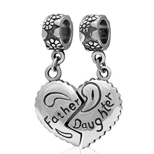 Amoony Pendant Father and Daughter Charm 925 Sterling Silver Heart Charm Love Charm Family Charm Dangle Charm for DIY Charms Bracelet (Father and Daughter)