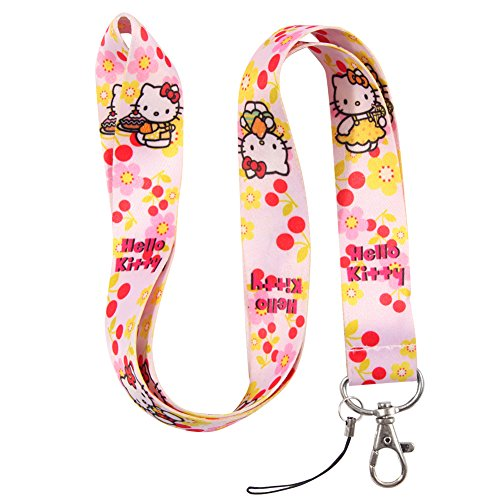 Pink Cherry & Flower Cat Keychain Key Chain Lanyard Straps with Mini Silver Steel Spring Clips (MCL-161)