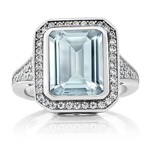 Octagon Cut Ring (5.00 Ct Women's 925 Sterling Silver Octagon Cut Created Aquamarine Ring (Ring Size 8))