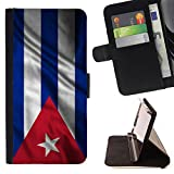 FJCases Cuba Cuban Waving Flag Slim Wallet Card Holder Flip Leather Case Cover for Apple iPod Touch 6