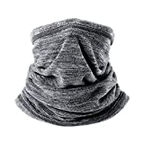 Runtlly 4-in-1 Neck Warmer/Face Mask/Hat Snood/Scarf Black Thermal Ski Snowboard Cycling Sports Genuine Gray
