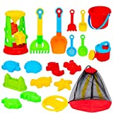 ToyBox Kingdoms 20 PCs Kids Beach Sand Toys in Zippered Bag with Reusable Mesh Bag | Beach Set Includes Plastic Pail, Rake, Shovel, 2 Types of Trowels, Beach Ball, Sand Sifter & Assorted Sand Molds
