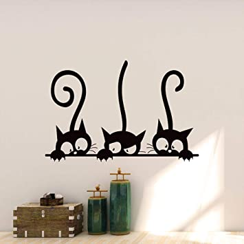 Pegatinas gato Pared Decorativas Vinilos gato Decorativos pared Dormitorio Stickers Decoración Pared Elegante y Hermoso tres Gatos de Dibujos Animados
