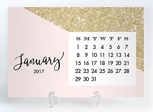 Blush & Gold Glitter 2017 Desk Calendar with Clear Acrylic Stand Pink & Gold Color Blocked Planner Cards Office Gift 4 inches x 6 inches Evie Blush