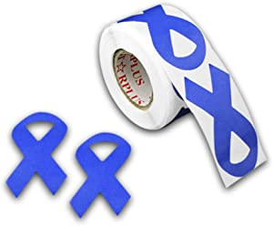 250 Periwinkle Esophageal Cancer Awareness Ribbon Stickers - Large Ribbon (1 roll)