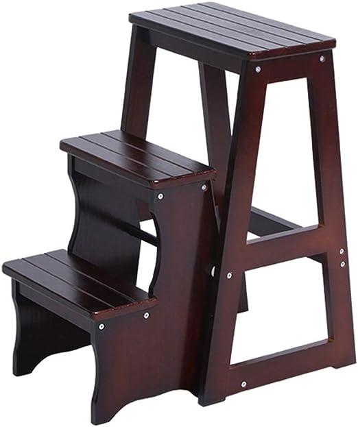 LAXF- Sillas Escalera Portátil Silla De Madera 3 Paso Taburete Plegable | 3 gradas de pie Unidades de Estante Escalera Asiento Versátil Hogar Cocina Baño Muebles de Oficina Capacidad de 300 LB: Amazon.es: Hogar