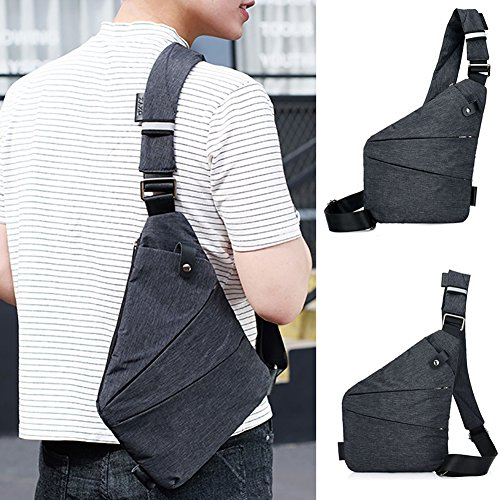 Gray pockets theft Timeracing Bag Chest Light Pack Crossbody Anti Multi Men Fashion Shoulder aaw7HU