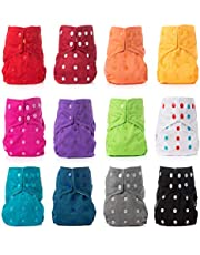 PLANET BABY Cloth Diapers - 4 All-in-Two Diaper Covers & 4 Bamboo 4 Layer Snap-in Inserts - One Size Reusable Washable Pocket Cover (Quantity 4 Mix)