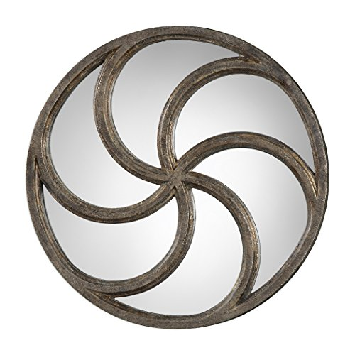 Mirrored Spiral Round Wall Art | Curved Bronze Modern Abstract Decor Plaque