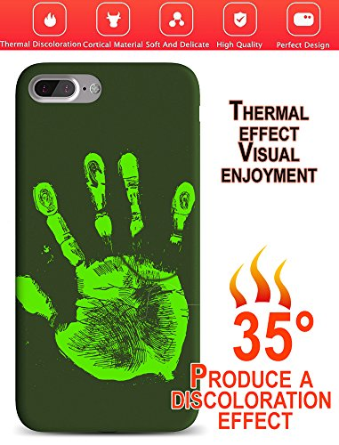 - iPhone 7 Plus/8 Plus Case. WOW Effect Thermal Case Heat Induction Color Changing Fluorescent Case for iPhone 7/8+ Heat Sensitive Color Changing Thermo Phone Case (Green)