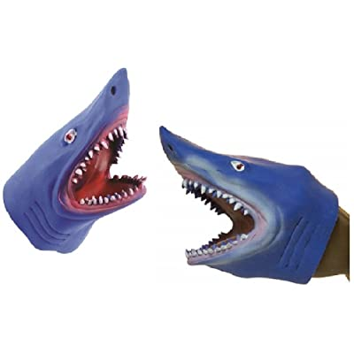 Novelty Treasures Blue Stretchy Soft Shark Hand Puppet (2 Pack): Toys & Games