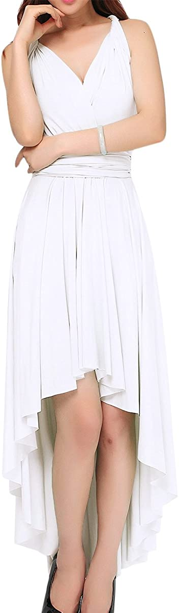 IWEMEK Women Convertible Multi Way Bandage Wrap High Low Long Dress Ruffle Swallow Evening Party Pageant Formal Wedding Bridesmaid Cocktail Solid Elegant Transformer Infinity Maxi Gown