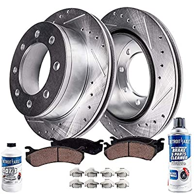 Detroit Axle - Pair (2) Front Drilled and Slotted Disc Brake Rotors w/Ceramic Pads & Brake Fluid & Cleaner for 2005 2006 2007 2008 2009 Ford F-250 F-350 4WD 4x4 Single Rear Wheel