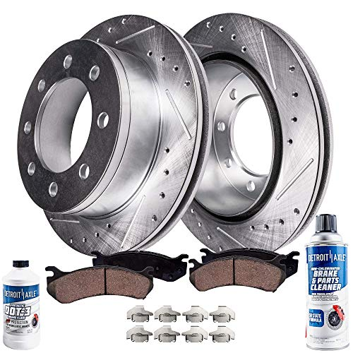 Detroit Axle - Pair (2) Front Drilled and Slotted Disc Brake Rotors w/Ceramic Pads w/Hardware & Brake Cleaner & Fluid for 2006 2007 2008 Dodge Ram 1500 Mega Cab - [2003-2008 Dodge Ram 2500 or 3500]
