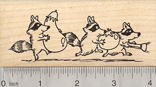 Garden Bandits Rubber Stamp, Raccoon Stealing Vegetables by RubberHedgehog
