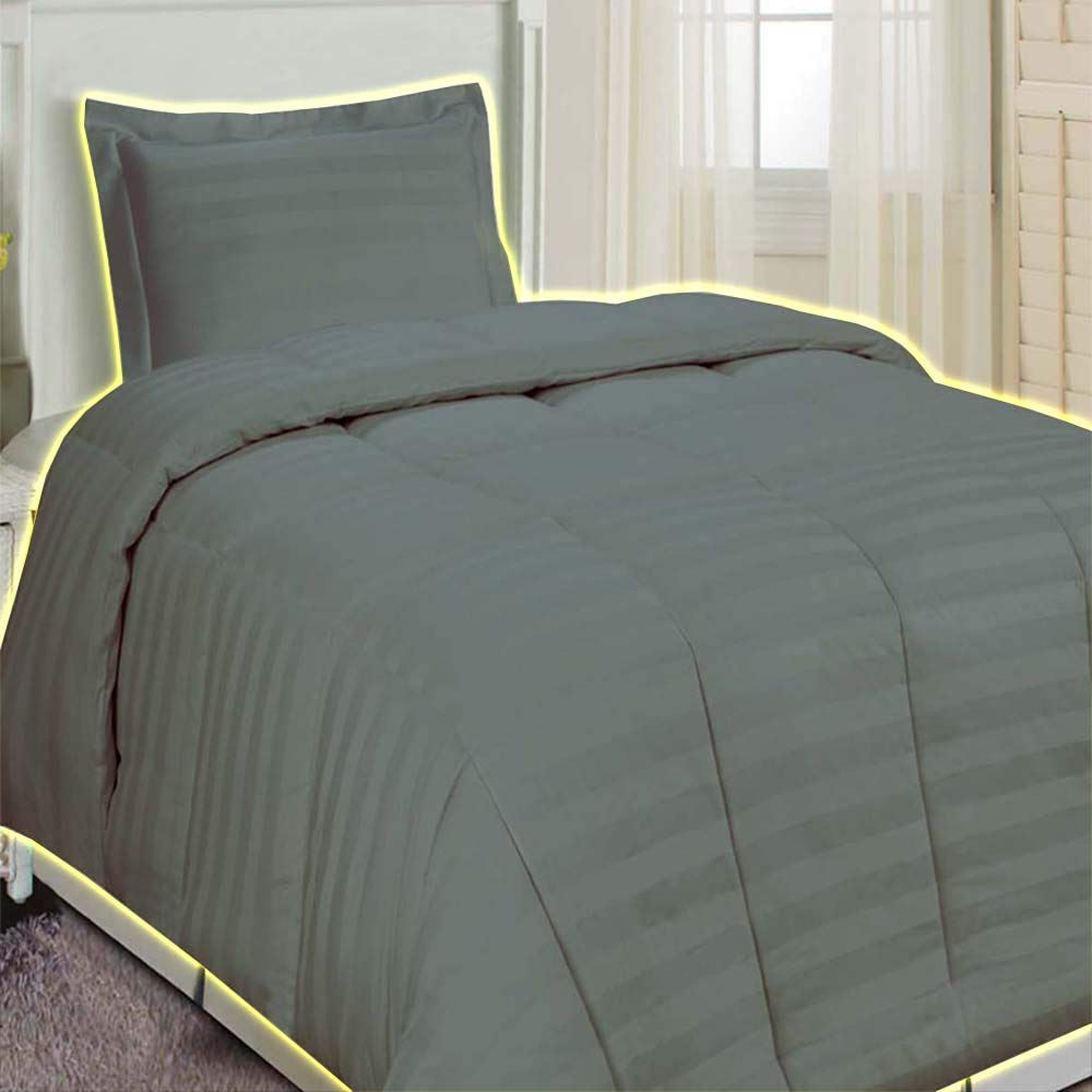 Smoke Grey Comforter Set Microfiber Brings You Elegant Damask Stripe Tailored Comforters and Shams Are the Perfect Finishing Touch for Your Bed Easy-Care Microfiber Polyester Fabric Full/Queen Grey