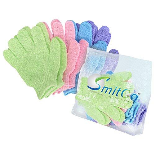 SMITCO Exfoliating Gloves Body Exfoliator, 4 pairs