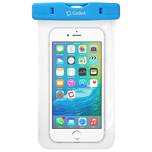 Waterproof Case Pouch Bag for Smartphones by Cellet-Universal Compatibility Including iPhone 7 Plus, 6s Plus, Samsung Galaxy S7 Edge, Digital Cameras, MP3 Players and More - IPX8 Certification-Blue