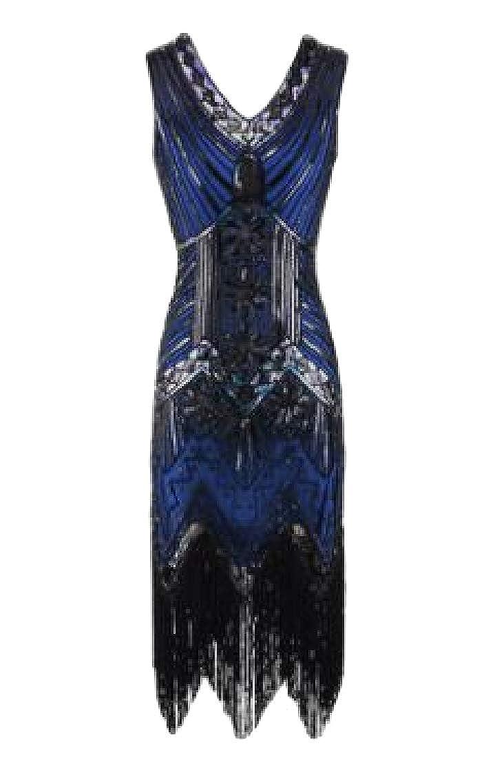 Macondoo Womens Fashion V-Neck Sleeveless Tassel Vintage Sequins Dresses