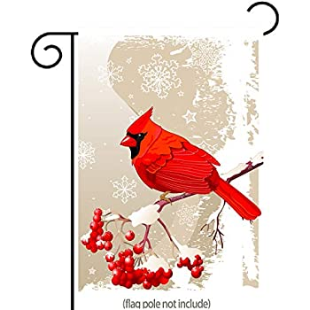 uHome Red Cardinal Bird Garden Flag, Winter Snow Background, Double-Sided, Winter/Christmas Yard Flag to Bright Up Your Garden 12.5