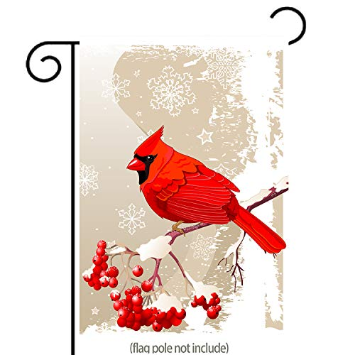 GDF Studio Red Cardinal Bird Garden Flag, Winter Snow Background, Double-Sided, 100% All-Weather Polyester, Winter/Christmas Yard Flag to Bright Up Your Garden 12.5 x 18