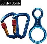 ayamaya 30KN Screwgate Locking Climbing Carabiners 2 Pack & Figure 8 Descender,Outdoor D-Ring Hook Rappel Device for Rappelling Belaying Rock Climbing (Blue(2pcs Carabiner + 1pcs Descender))