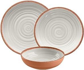 TarHong 12 Piece Terra Cotta Rustic Swirl Dinnerware Set, Ivory