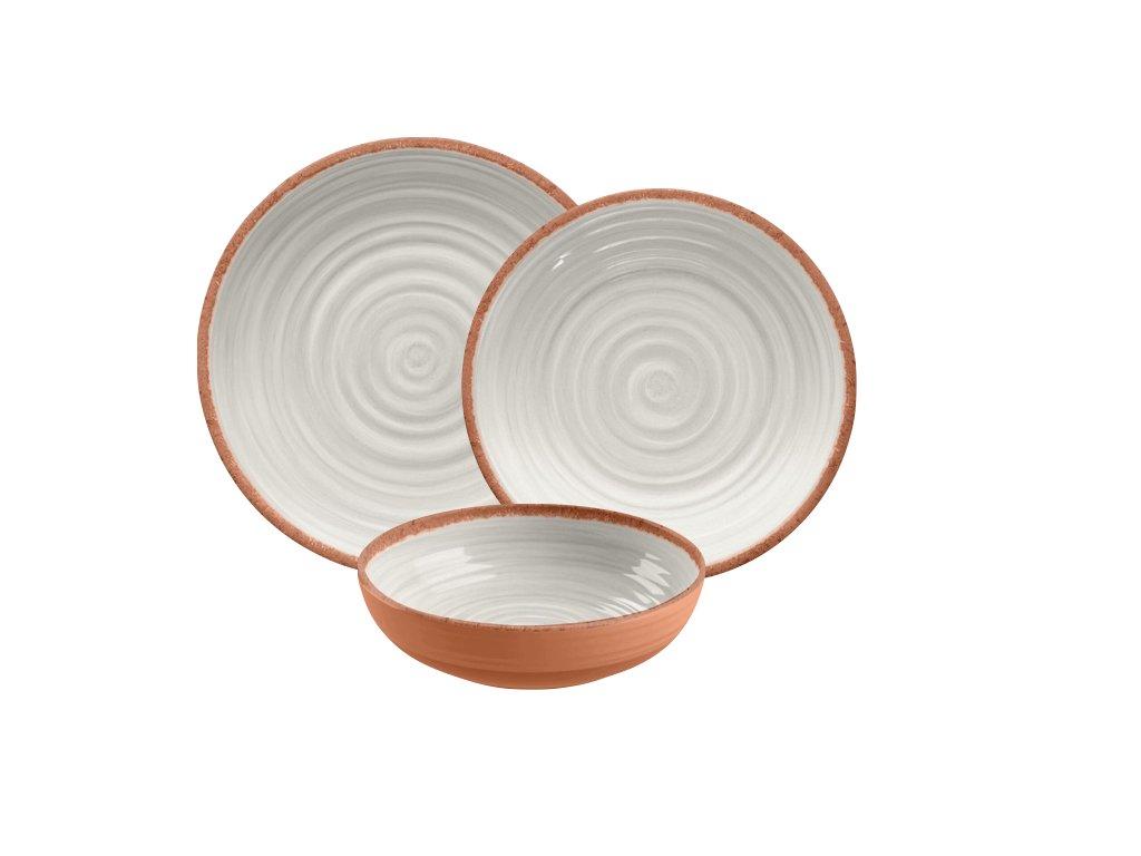 Amazon.com | TarHong 12 Piece Terra Cotta Rustic Swirl Dinnerware ...
