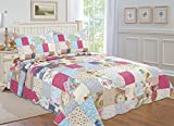 Oversized King Comforters 120x120 All for You 3-piece Reversible Bedspread/ Coverlet / Quilt Set- OverSize-Real patchwork (king)