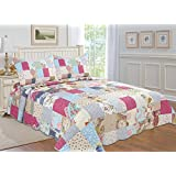 All for You 3-piece Reversible Bedspread/ Coverlet / Quilt Set- OverSize-Real patchwork (king)