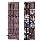 E-lishine Over the Door Shoe Organizer with 24 Large Mesh Storage ...