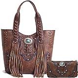 Cowgirl Trendy Western Concealed Carry Country Fringe Purse Handbag Totes Shoulder Bag Wallet Set Brown