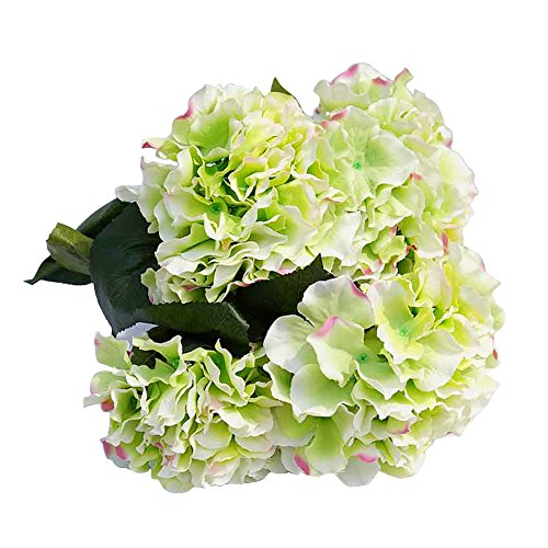 AMTION Artificial Silk Fake 5 Heads Flowers Bunch Bouquet Home Hotel Wedding Party Garden Floral Decoration Hydrangea -