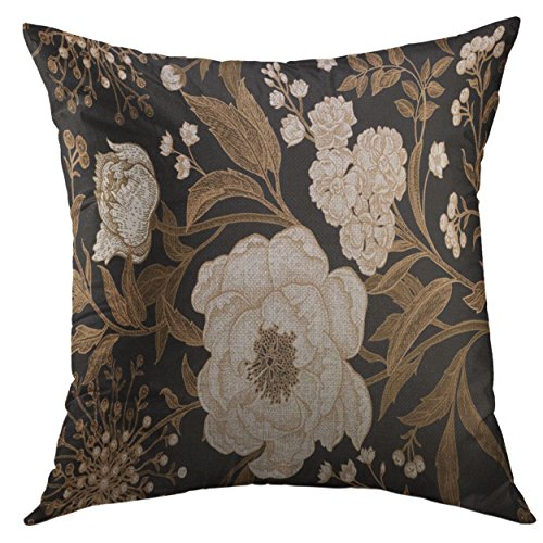- Mugod Pillow Case White Flowers Peonies Gillyflowers with Leaves Branches of Gold Foil on Black Floral Vintage for Tissue Square Throw Pillow Cover for Men Women Kids Cushion Cover 20x20 Inch