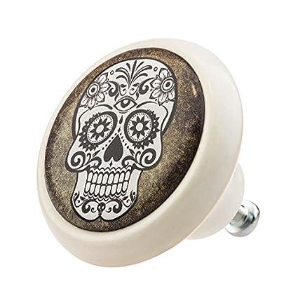 Diseñador Perilla Cerámica Muebles 03325W Cráneo Skull Vintage ...